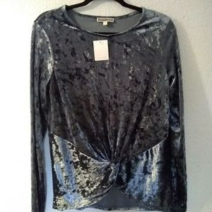 Pleione crushed velvet long sleeve knot front top